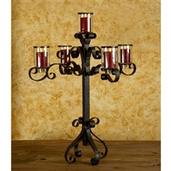Pictured here is the Wrought Iron Amalfi Candelabra with banded glass vases by Bella Toscana