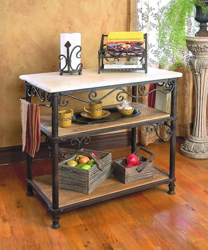Wrought Iron Siena Rectangle Kitchen Island by Bella Toscana