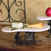 Pictured here is the Wrought Iron Med Boulder Server by Bella Toscana
