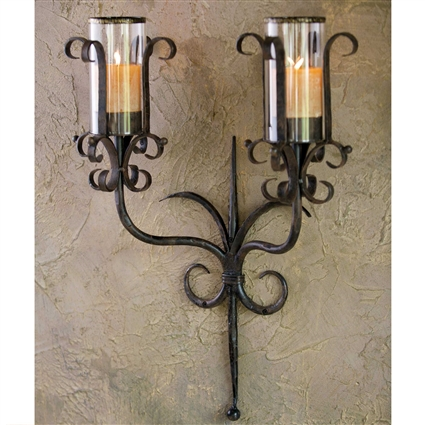 Pictured here is the Wrought Iron Siena Double Candle Sconce by Bella Toscana
