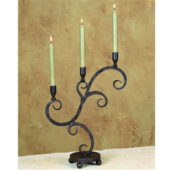 Wrought Iron Siena Triple Candleholder by Bella Toscana