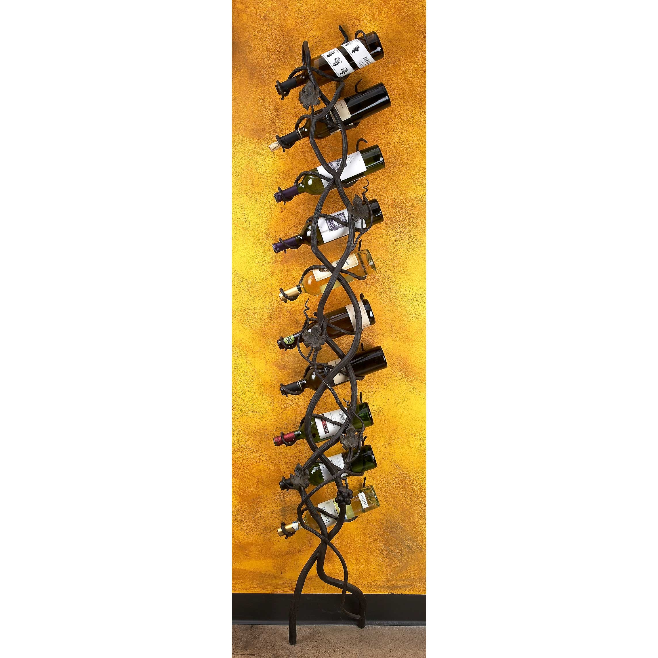 Wrought Iron Wall Wine Holder 10 Bottle By Bella Toscana