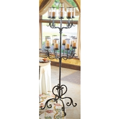 Wrought Iron Siena Floor Candelabra with Glass by Bella Toscana
