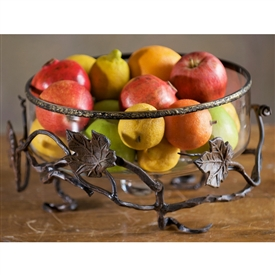 Wrought Iron Glass Fruit Basket by Bella Toscana