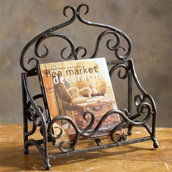 Pictured is the Siena Magazine Rack made of decorative wrought iron