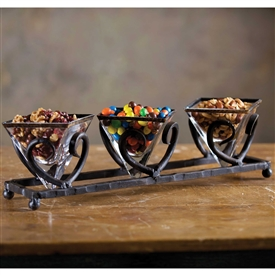 Wrought Iron Siena Triple Bowl Server by Bella Toscana