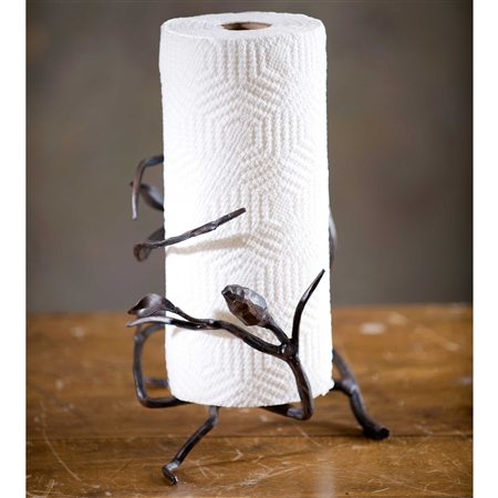 Pictured here is the Wrought Iron Fruitwood Paper Towel Holder with a woodland brown iron finish.