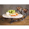 Wrought Iron Fruitwood Lazy Susan with Bowls by Bella Toscana