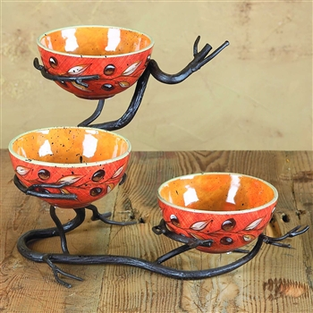 Pictured here is the Wrought Iron Twig Triple Bowl Server by Bella Toscana