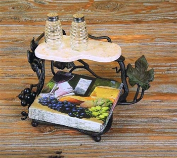Wrought Iron Luncheon Napkin Holder with shelf by Bella Toscana
