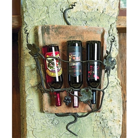 Pictured here is the Wrought Iron Tile Wall Wine Holder - 3 Bottle
