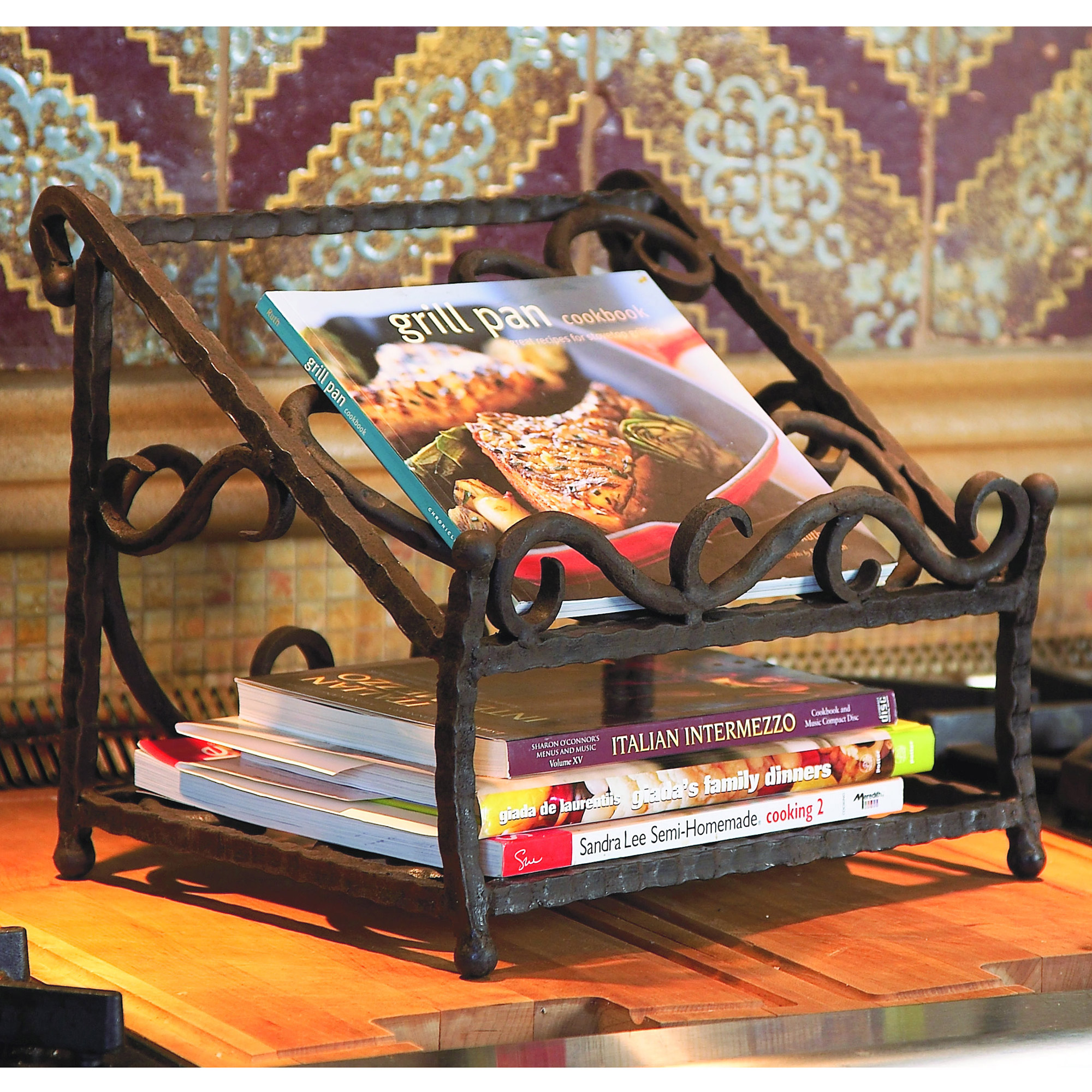 wrought iron siena cookbook holder by bella toscana