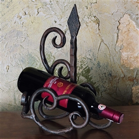 :Pictured here is the Wrought Iron Siena Wine Bottle Cradle by Bella Toscana