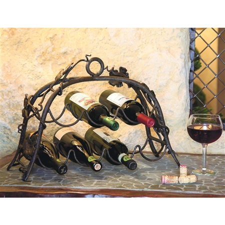 Pictured here is the Wrought Iron Wine Rack - 7 Bottle by Bella Toscana