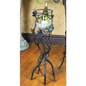 Pictured here is the Wrought Iron Vineyard Wine Chiller - Floor by Bella Toscana