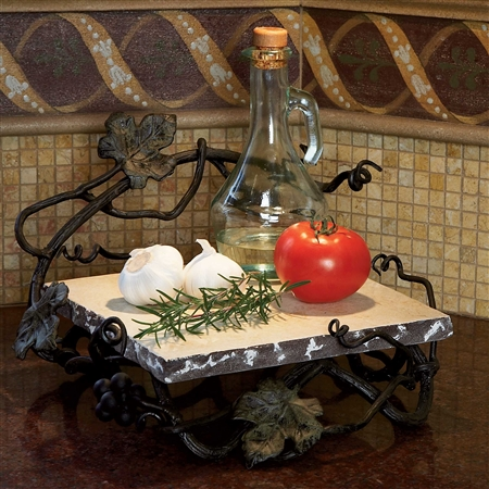Pictured here is our Wrought Iron Vineyard Square Marble Server by Bella Toscana