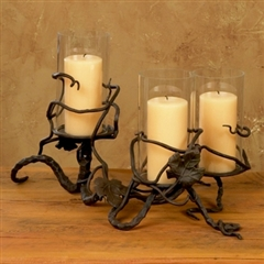 Wrought Iron Triple Hurricane Candleholder by Bella Toscana