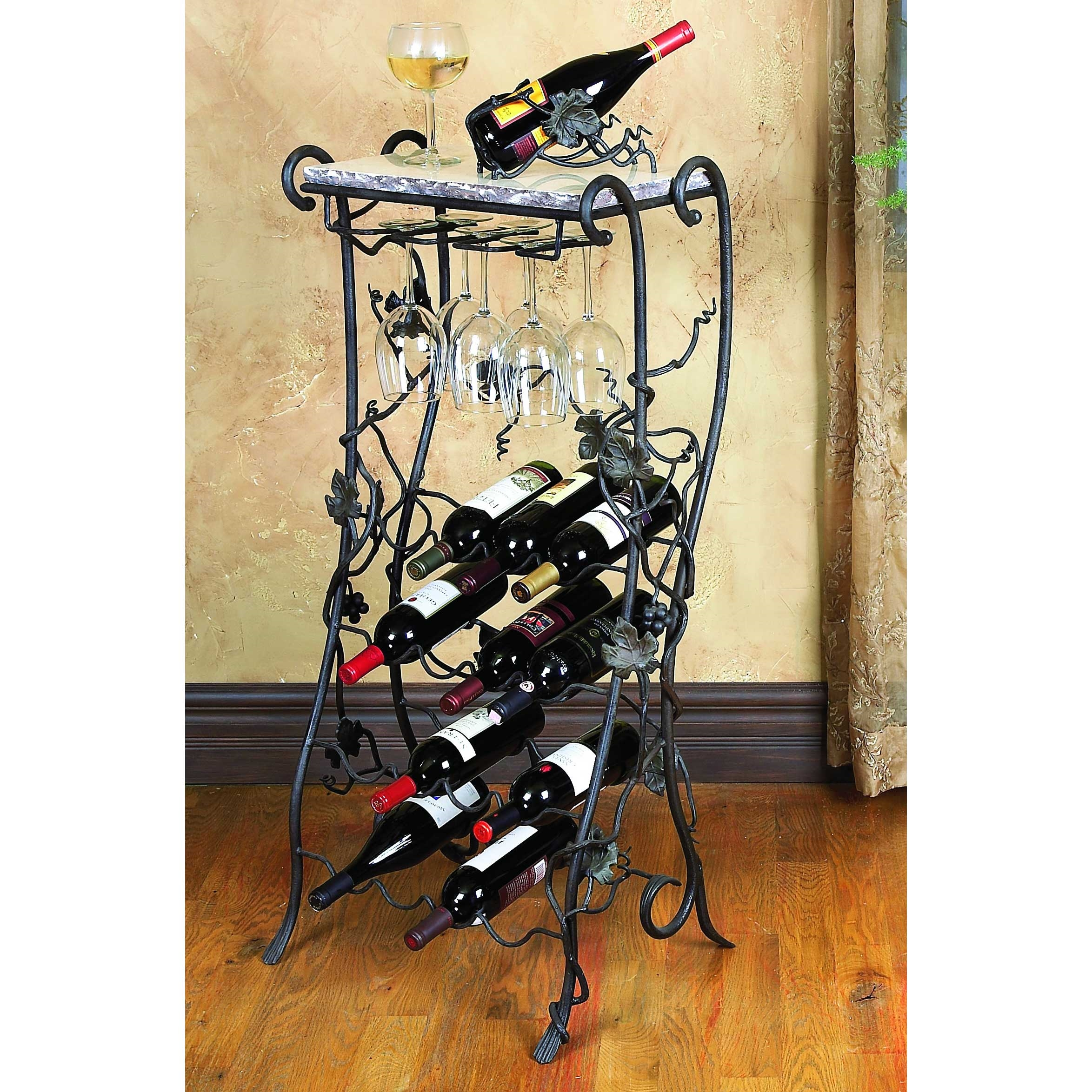 wine iron organizer glass metal wrought wall racks console table rack hanging