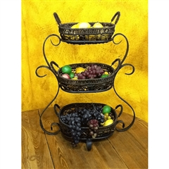 Wrought Iron Amalfi Triple Basket by Bella Toscana
