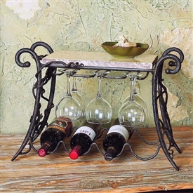Pictured here is the Vineyard 4 Bottle Wine & Glass Rack from Bella Toscana