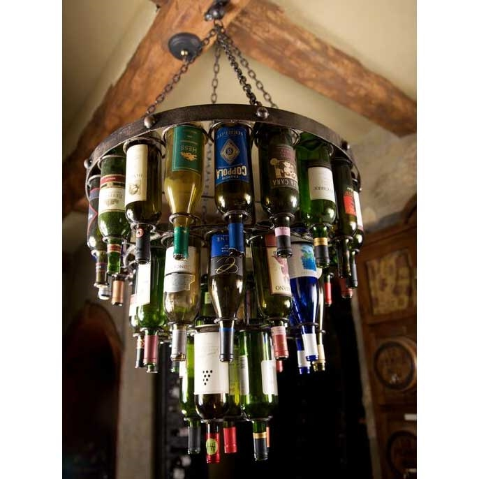 Wrought iron amalfi wine bottle chandelier aloadofball Choice Image