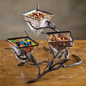 Wrought Iron Fruitwood Triple Bowl Server by Bella Toscana