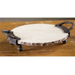Wrought Iron 2-Handle 12in Marble Server by Bella Toscana