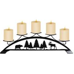Wrought Iron Moose, Bear and Pine Tree Table Top Center Piece