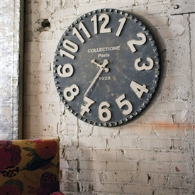 Pictured here is the Wooden Wall Clock in a Vintage Black and White Finish at Timeless Wrought Iron.