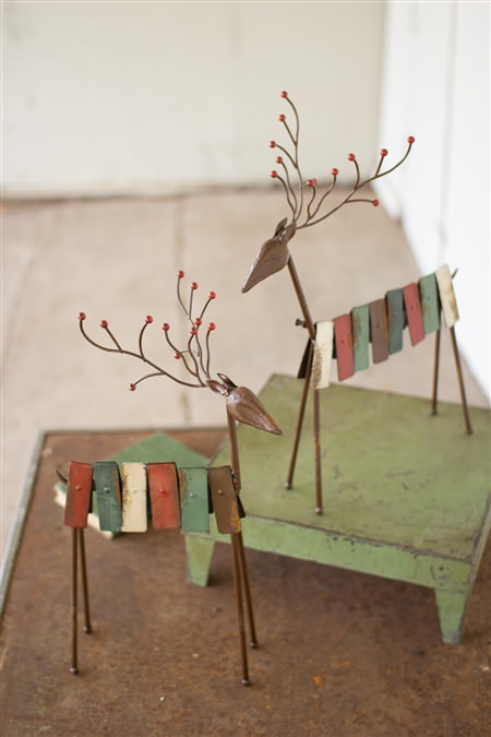 Set Of 2 Metal Red And Green Reindeer