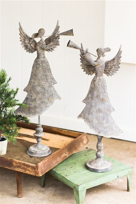 Set Of 2 Metal Angels Blowing Horns