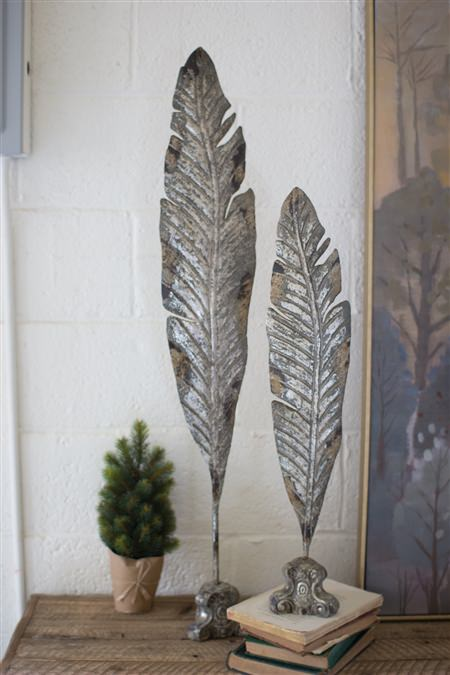 Set Of 2 Painted Metal Leaf Sculptures