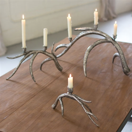 Pictured here is the Set Of 3 Metal Antler Taper Candle Holders at Timeless Wrought Iron