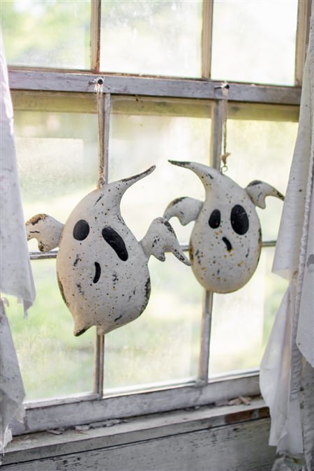 Set Of Two Painted Metal Hanging Ghosts