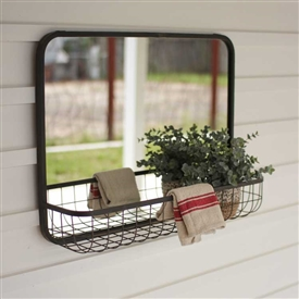 Pictured here is the Rectangle Mirror with Wire Basket Shelf at Timeless Wrought Iron.