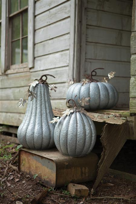 "Galvanized Pumpkin With Rustic Detail-16""D X 25 1/2""T"