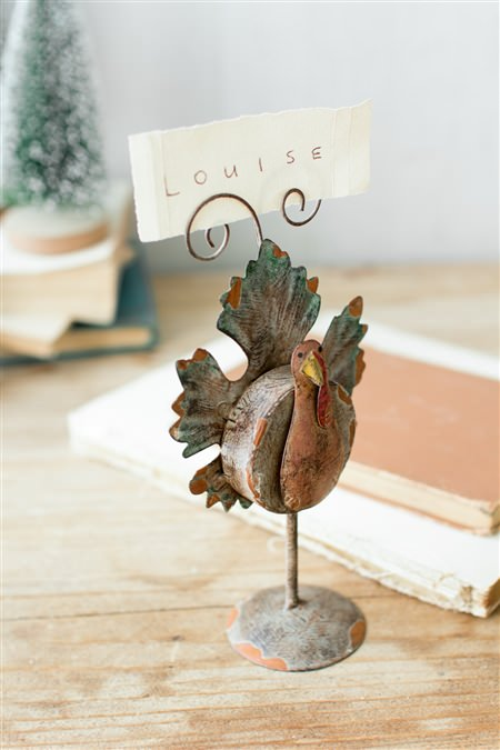 Metal Turkey Place Card Holder
