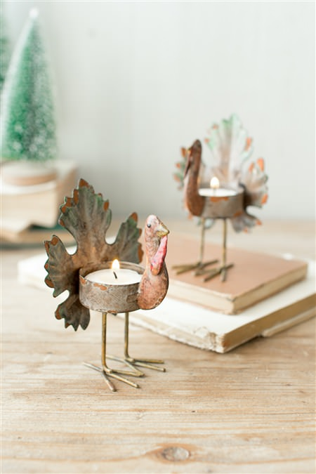 Metal Turkey T-Light Holder
