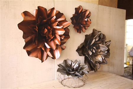Set Of 2 Raw Metal Flower Wall Hangings