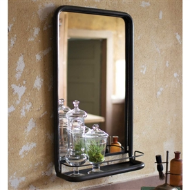 Pictured here is the Metal Frame Mirror with Shelf at Timeless Wrought Iron.