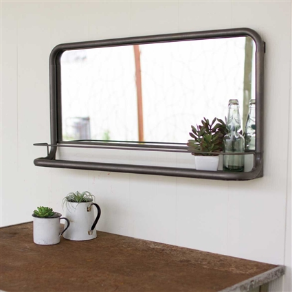 Pictured here is the Metal Frame Horizontal Pharmacy Mirror with Shelf at Timeless Wrought Iron.