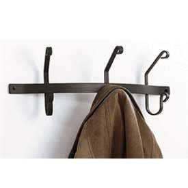 Pictured here is the 3 Hook Wrought Iron Wall Coat Rack with timeless matte black finish.