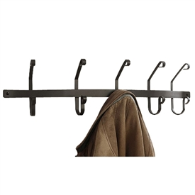 Pictured here is the Wall Mounted Wrought Iron Coat Rack with 5 Coat Hooks in Matte Black Finish.
