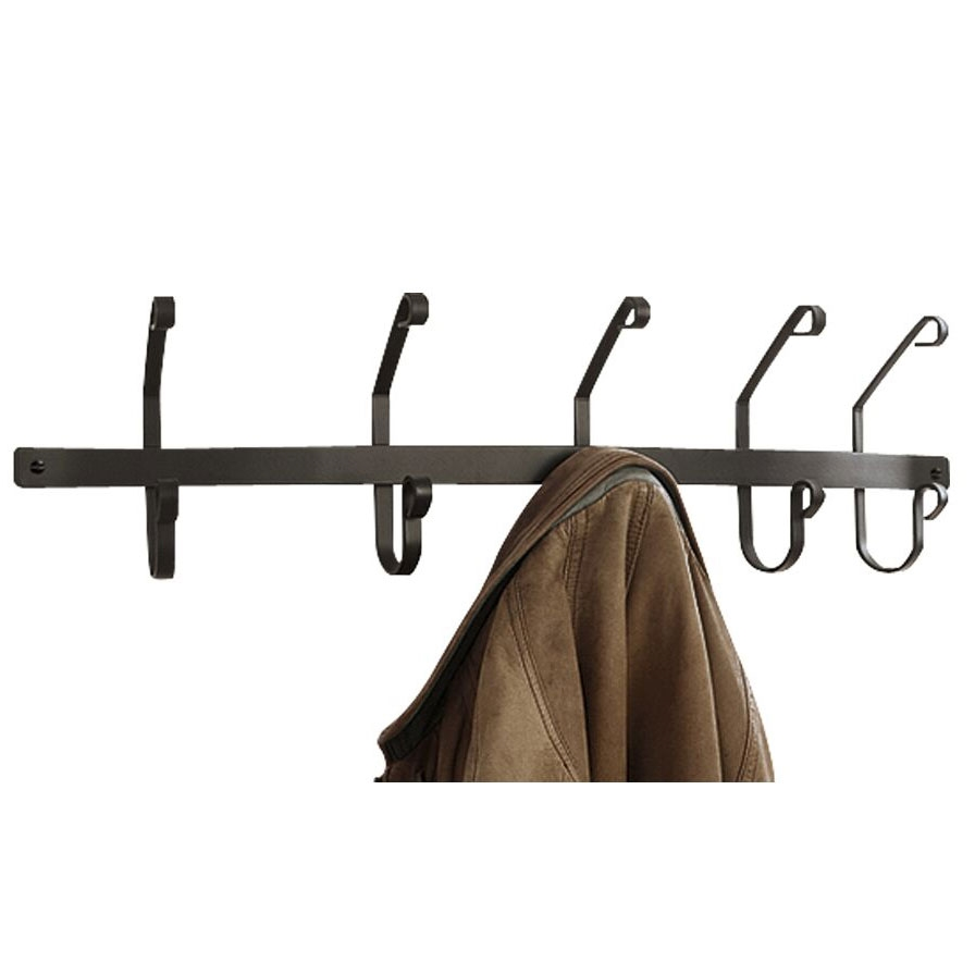 Wall Mounted Wrought Iron Coat Rack With 5 Hooks In Matte Larger Photo