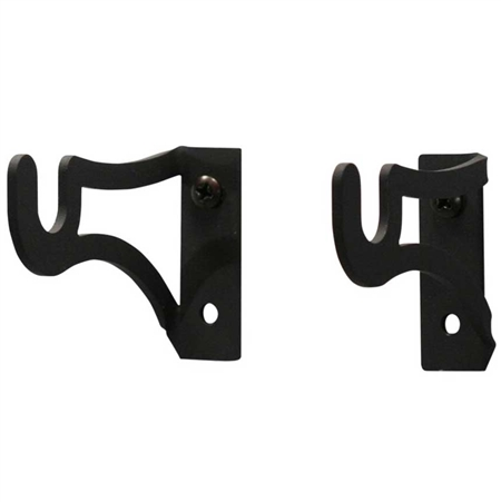 Pictured here is a set of 3x2 inch Curtain Rod Brackets that hold 1/2 inch diameter curtain rods. Sold with mounting hardware.