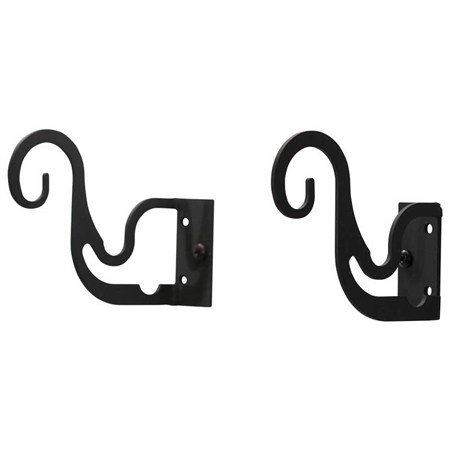 Wrought Iron Triple Curtain Rod Brackets