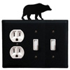 Wrought Iron Bear Double Switch / Single Outlet Cover