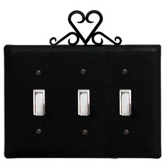 Wrought Iron Heart Triple Switch Cover