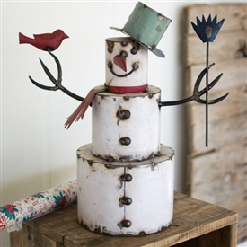 Pictured here is Recycled Painted Iron Snowman with Bird