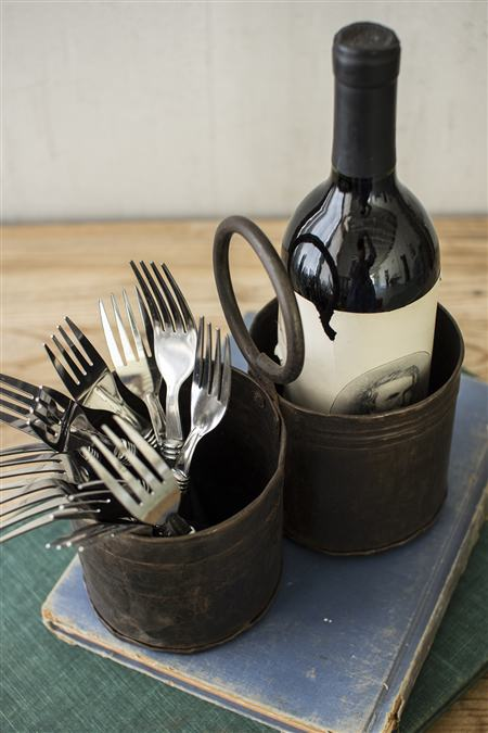Rustic Iron Utensil Server Two Contianers